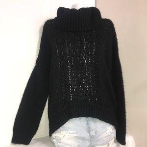 Larry Levine Black Chunky Knit Turtleneck Sweater